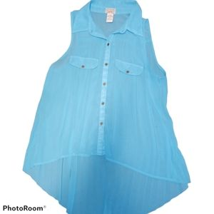 Eyelash couture button up sleeveless blouse teal M